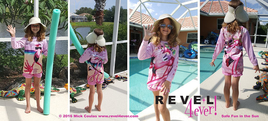 Flamingo Hello! and Flamingo Girls Rule! UPF 40 Sun Shirts for Girls and Women