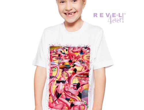 Revel4Ever! Big Girls' Flamingo Beach Party Performance Wicking T-shirt