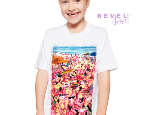 Revel4Ever! Big Girls' Flamingo Beach Scene Performance Wicking T-shirt